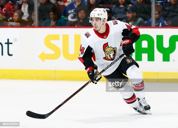 JeanGabriel Pageau of the Ottawa Senators skates up ice during their NHL game against the Vancouver Canucks at Rogers Arena October 10 2017 in...
