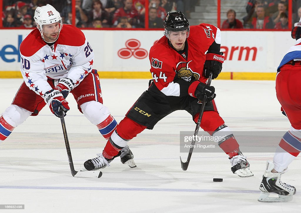 Jean-Gabriel Pageau #44 of the Ottawa Senators skates up ice with the puck against <a gi-track='captionPersonalityLinkClicked' href=/galleries/search?phrase=Troy+Brouwer&family=editorial&specificpeople=4155305 ng-click='$event.stopPropagation()'>Troy Brouwer</a> #20 of the Washington Capitals on April 18, 2013 at Scotiabank Place in Ottawa, Ontario, Canada.