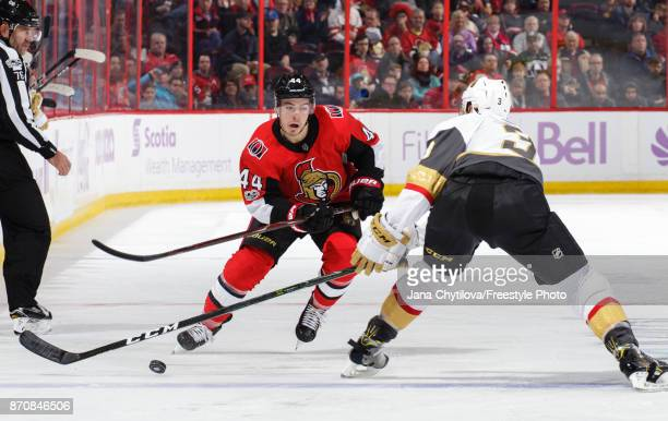 JeanGabriel Pageau of the Ottawa Senators skates with the puck against Brayden McNabb of the Vegas Golden Knights at Canadian Tire Centre on November...