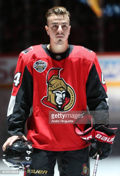 JeanGabriel Pageau of the Ottawa Senators stands at attention during the singing of the national anthems prior to a game against the Colorado...