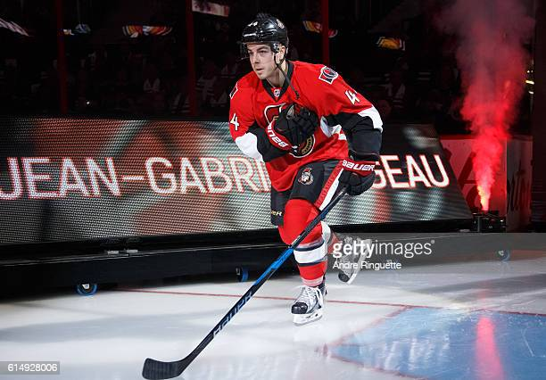 JeanGabriel Pageau of the Ottawa Senators steps onto the ice during player introductions prior to a game against the Toronto Maple Leafs at Canadian...