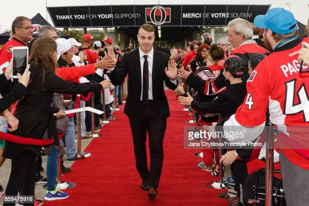 JeanGabriel Pageau of the Ottawa Senators walks the red carpet prior to the start of a game against the Detroit Red Wings at Canadian Tire Centre on...