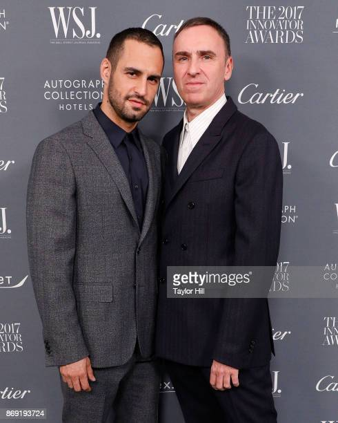 JeanGeorges d'Orazio and Raf Simons attend the 2017 WSJ Innovator Awards at Museum of Modern Art on November 1 2017 in New York City
