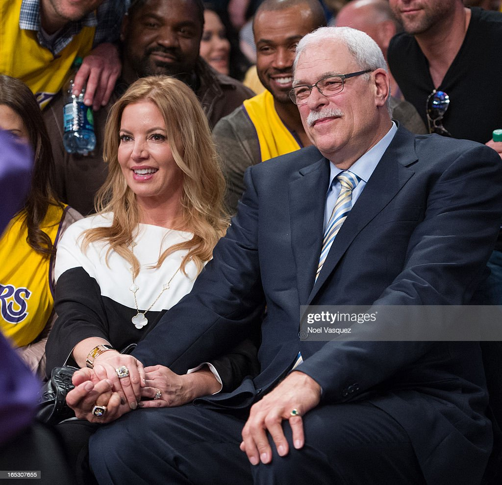 Jeanie Buss (L) and <a gi-track='captionPersonalityLinkClicked' href=/galleries/search?phrase=Phil+Jackson&family=editorial&specificpeople=201756 ng-click='$event.stopPropagation()'>Phil Jackson</a> attend a basketball game between the Dallas Mavericks and the Los Angeles Lakers at Staples Center on April 2, 2013 in Los Angeles, California.