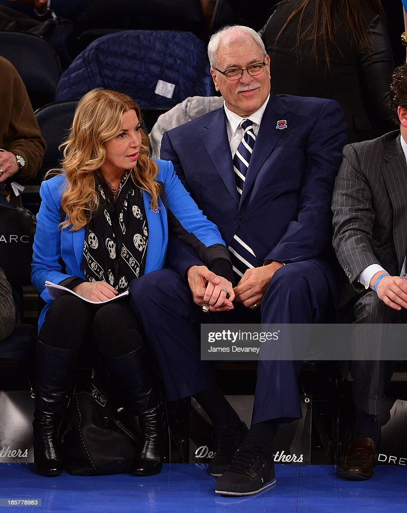 Jeanie Buss and <a gi-track='captionPersonalityLinkClicked' href=/galleries/search?phrase=Phil+Jackson&family=editorial&specificpeople=201756 ng-click='$event.stopPropagation()'>Phil Jackson</a> attend the Milwaukee Bucks vs New York Knicks game at Madison Square Garden on April 5, 2013 in New York City.