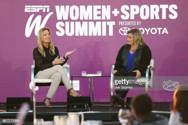 Jeanie Buss and Ramona Shelburne speak onstage during the 8th Annual espnW Women Sports Summit at Resort at Pelican Hill on October 3 2017 in Newport...