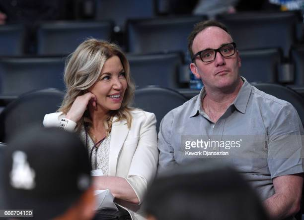 Jeanie Buss controlling owner and president of the Los Angeles Lakers and Jay Mohr attend the Minnesota Timberwolves and Los Angeles Lakers...