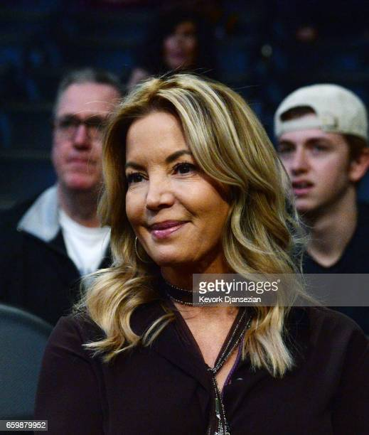 Jeanie Buss controlling owner of the Los Angeles Lakers attends the Washington Wizards and Los Angeles Lakers basketball game at Staples Center March...