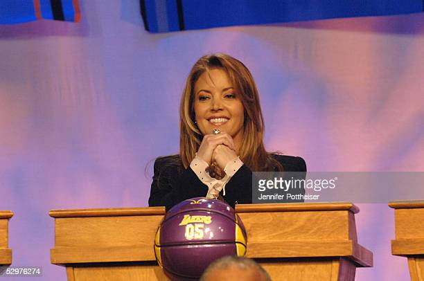 Jeanie Buss Executive Vice President of Business Operations for the Los Angeles Lakers reacts to getting the lottery pick during the 2005 NBA Draft...