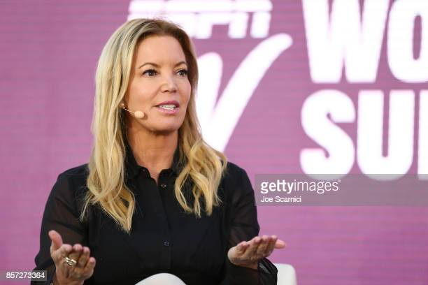 Jeanie Buss speaks onstage during the 8th Annual espnW Women Sports Summit at Resort at Pelican Hill on October 3 2017 in Newport Beach California