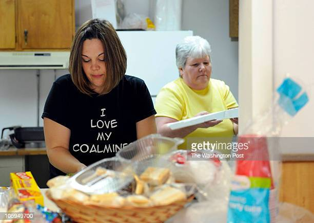 Jeanie Garretson whose husband works in a coal mine and her motherinlaw Rose Garretson prepare meals for miners and the families of those perished in...
