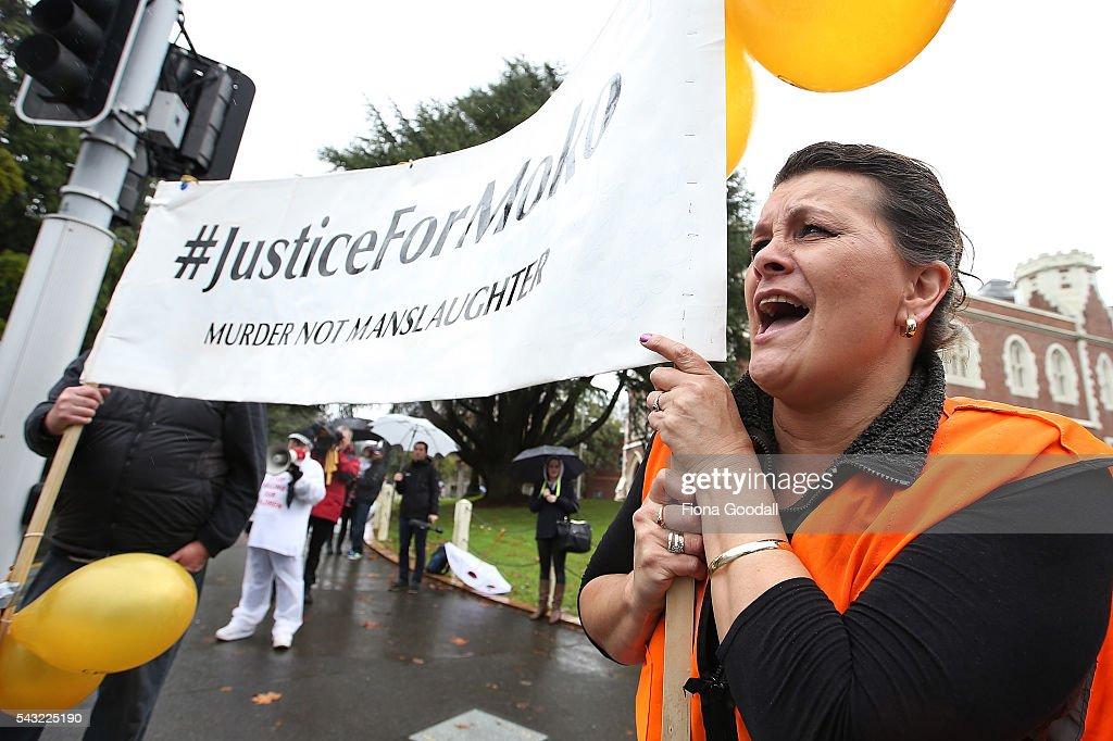 Jeanine Perkinson leands the chant outside Auckland High Court on June 27, 2016 in Auckland, New Zealand. Three year old toddler Moko Rangitoheriri died on August 10, 2015 from injuries he received during prolonged abuse and torture at the hands of his carers. His killers Tania Shailer and David Haerewa were sentenced at Rotorua High Court today.