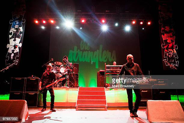 JeanJacques Burnel and Baz Warne of The Stranglers perform on stage at Hammersmith Apollo on March 19 2010 in London England
