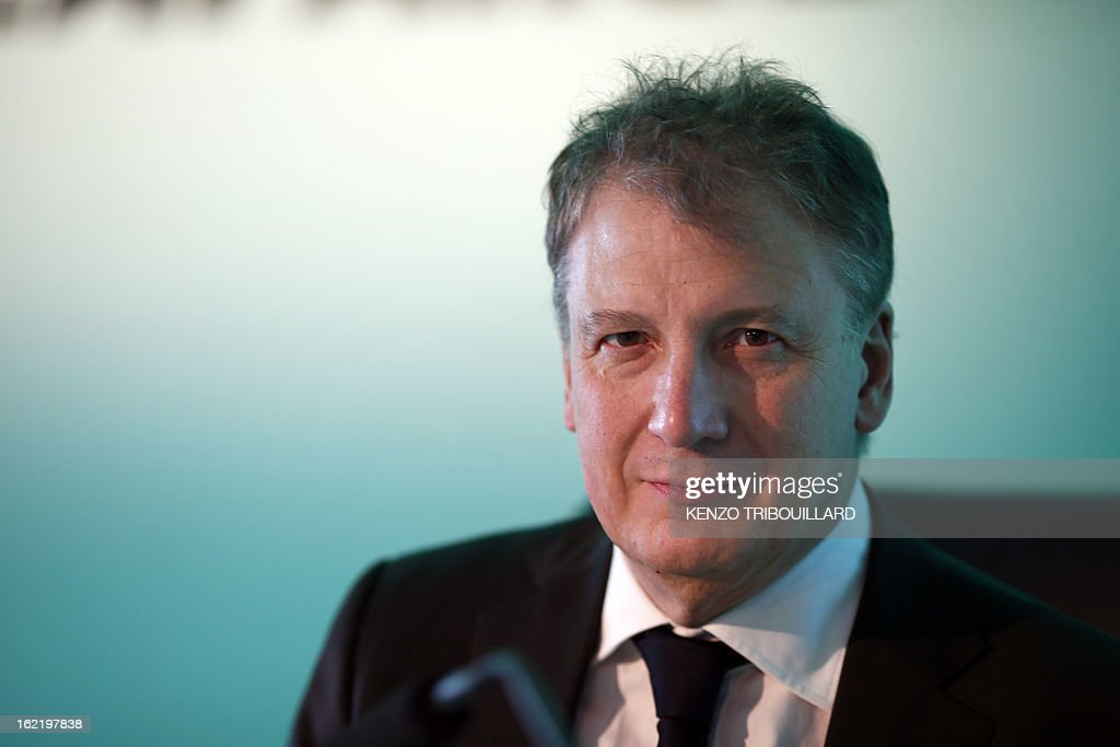 Jean-Jacques Gauthier, general director of French constructions group Lafarge, the world's biggest cement maker, is pictured as he presents the group's 2012 results in Paris during a press conference on February 20, 2013.