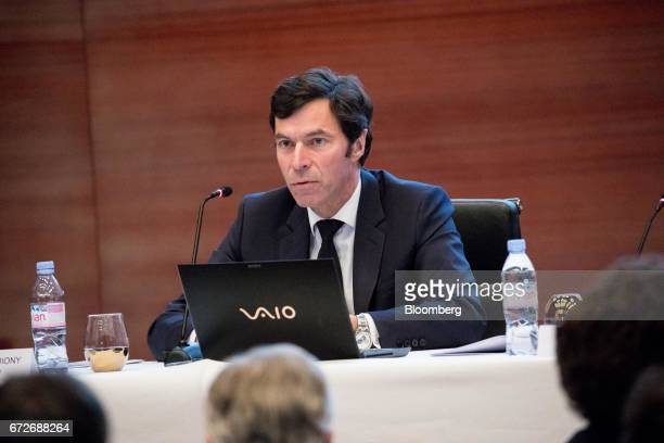 JeanJacques Guiony chief financial officer of LVMH Moet Hennessy Louis Vuitton SE speaks during a news conference in Paris France on Tuesday April 25...