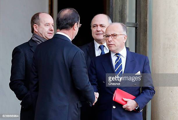 JeanJacques Urvoas Keeper of the Seals Minister of Justice French President Francois Hollande French Prime minister Bernard Cazeneuve and Bruno Le...