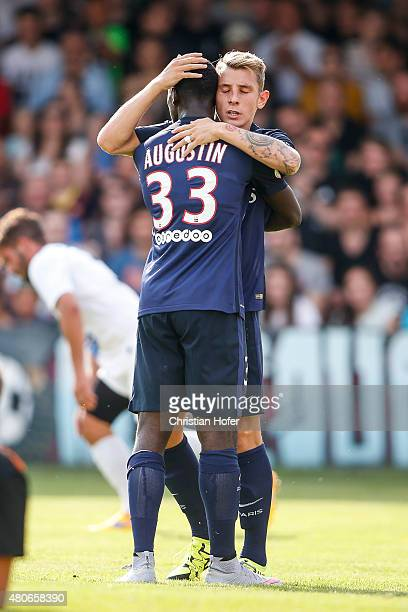 JeanKevin Augustin and Lucas Digne of Paris SaintGermain celebrate after scoring during the Friendly Match between Wiener Sportklub and Paris...
