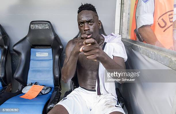 JeanKevin Augustin of France celebrates the victory during the U19 match between Portugal and France at CarlBenzStadium on July 21 2016 in Mannheim...
