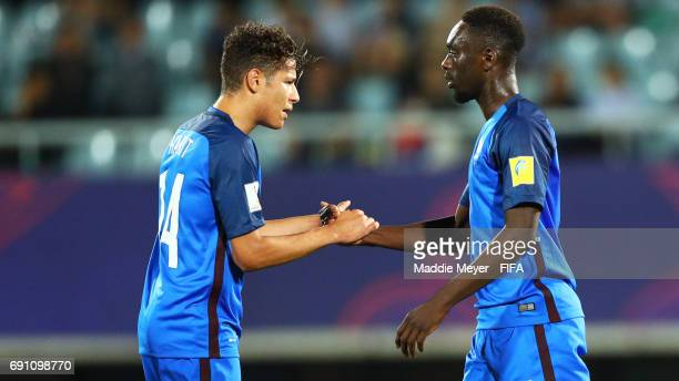 JeanKevin Augustin of France celebrates with Amine Harit after scoring a goal during the FIFA U20 World Cup Korea Republic 2017 Round of 16 match...