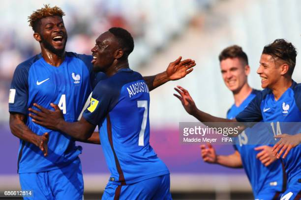 JeanKevin Augustin of France celebrates with Jerome Onguene and Amine Harit after scoring a goal during the FIFA U20 World Cup Korea Republic 2017...