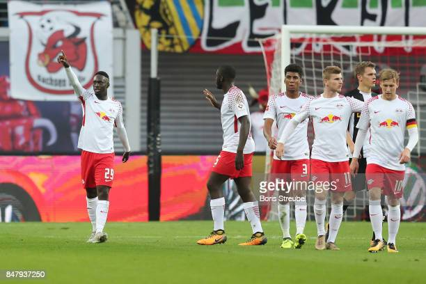 JeanKevin Augustin of Leipzig is celebrated after he scored his teams second goal to make it 21 during the Bundesliga match between RB Leipzig and...