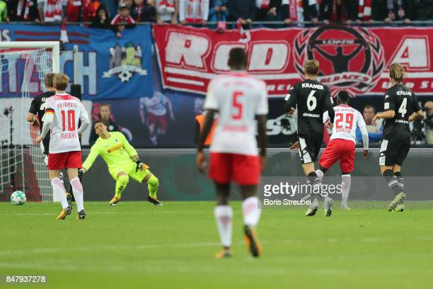 JeanKevin Augustin of Leipzig scores his teams second goal to make it 21 during the Bundesliga match between RB Leipzig and Borussia Moenchengladbach...