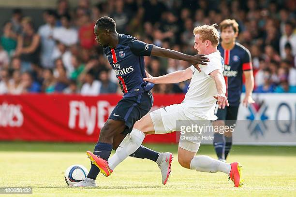 JeanKevin Augustin of Paris SaintGermain competes for the ball with Daniel Seper of Wiener Sportklub during the Friendly Match between Wiener...