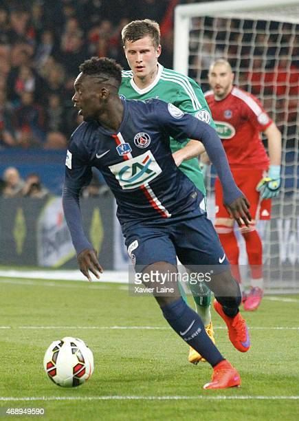 JeanKevin Augustin of Paris SaintGermain during the French Cup SemiFinal between Paris SaintGermain and ASSE SaintEtienne at Parc Des Princes on...