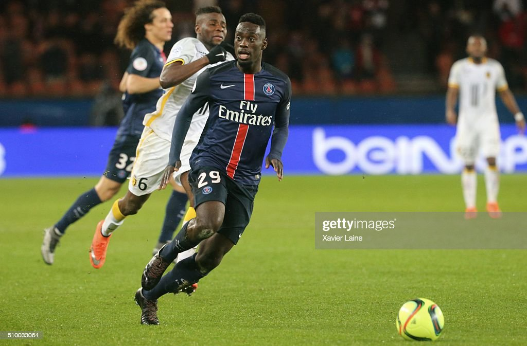 Jean-Kevin Augustin of Paris Saint-Germain in action during the French Ligue 1 between Paris Saint-Germain and Lille OSC at Parc Des Princes on february 13, 2016 in Paris, France.