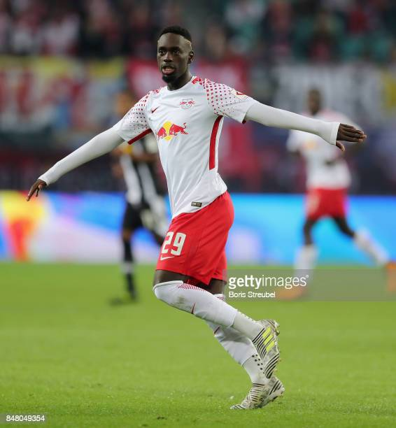 JeanKevin Augustin of RB Leipzig gestures during the Bundesliga match between RB Leipzig and Borussia Moenchengladbach at Red Bull Arena on September...