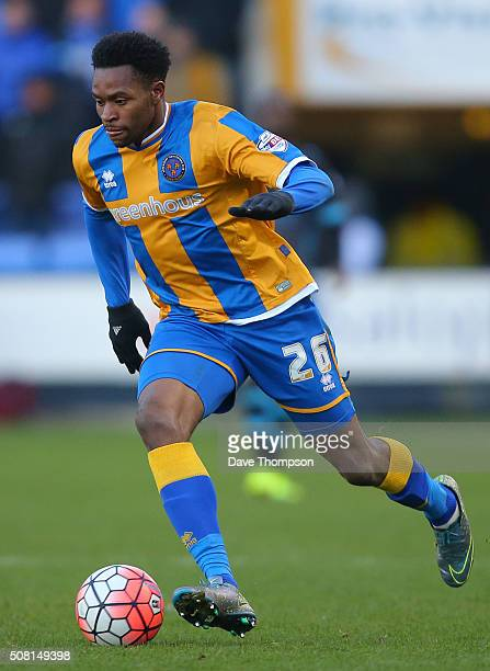 JeanLouis Akpa Akpro of Shrewsbury Town during The Emirates FA Cup Fourth Round tie at New Meadow on January 30 2016 in Shrewsbury England
