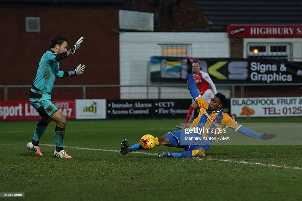 Jean-Louis Akpa Akpro of Shrewsbury Town fails to connect during the Sky Bet League One match between Fleetwood Town and Shrewsbury Town at Highbury Stadium on February 7, 2016 in Fleetwood, England.