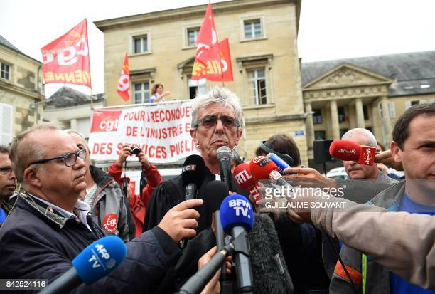 JeanLouis Borie lawyer of employees of French auto parts manufacturer GMS speaks to the press after leaving the trade court of Poitiers central...