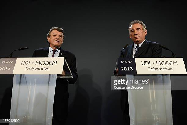 JeanLouis Borloo and Francois Bayrou speaking at the ModemUDI common press conference at Maison de La Chimie on November 5 2013 in Paris France