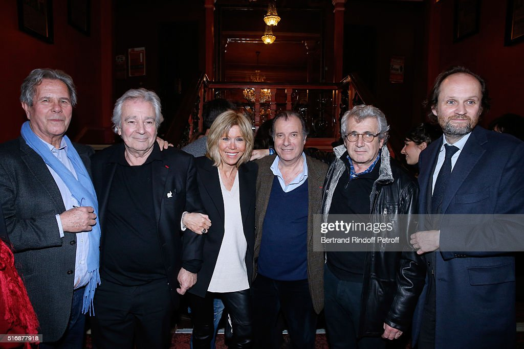 Jean-Louis Debre, Actor of the Piece Pierre Arditi, Miss Emmanuel Macron (Brigitte), Actor of the Piece Daniel Russo, Michel Boujenah and Co-owner of the Theater Jean-Marc Dumontet attend the 'L'Etre ou pas' : Theater play at Theatre Antoine on March 21, 2016 in Paris, France.
