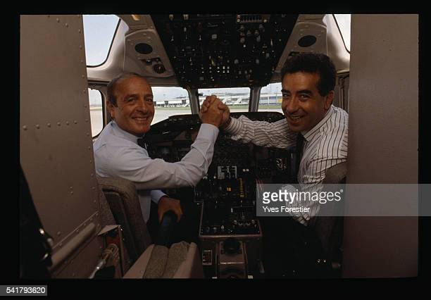 JeanLouis Petriat and Lotfi Belhassine heads of Air Liberte airlines in the cockpit of one of their aircraft