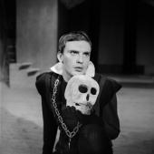 JeanLouis Trintigant French actor in 'Hamlet' by Shakespeare Paris theater of ChampsElysees January 1960