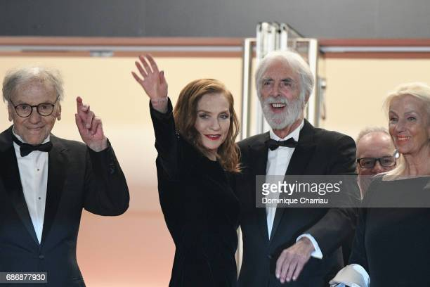 JeanLouis Trintignant Isabelle Huppert Michael Haneke and Susi Haneke attend the 'Happy End' screening during the 70th annual Cannes Film Festival at...