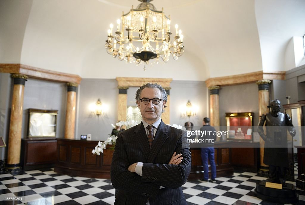 Jean-Luc Cousty, CEO of the luxury hotel 'Lutetia', poses in the hotel lobby in Paris on April 10, 2014. The hotel, built in 1910 by French architects Louis-Charles Boileau and Henri Tauzin, will close its doors on April 14, 2014, prior to a total renovation. Throughout the years, various celebrities stayed at the 'Lutetia', such as French author and winner of the Nobel Prize in Literature in 1947 Andre Gide, American-born French actress Josephine Baker and French General Charles de Gaulle on the occasion of his wedding night.