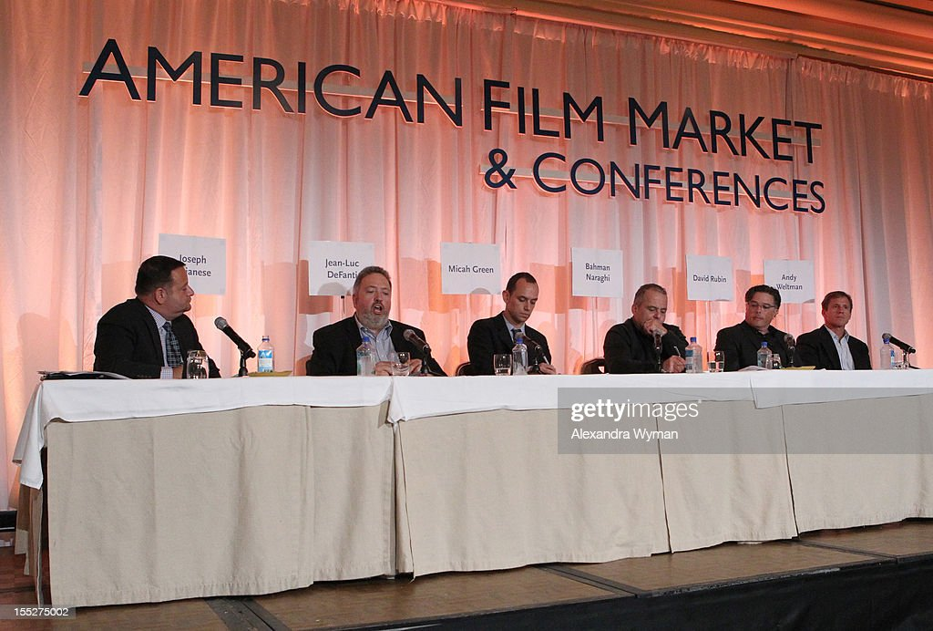 Jean-Luc DeFanti, Managing Partner, Hemisphere Capital Management, speaks during the Building Your Global Film Financing panel during American Film Market - Day 3 at the Fairmont Hotel on November 2, 2012 in Santa Monica, California.
