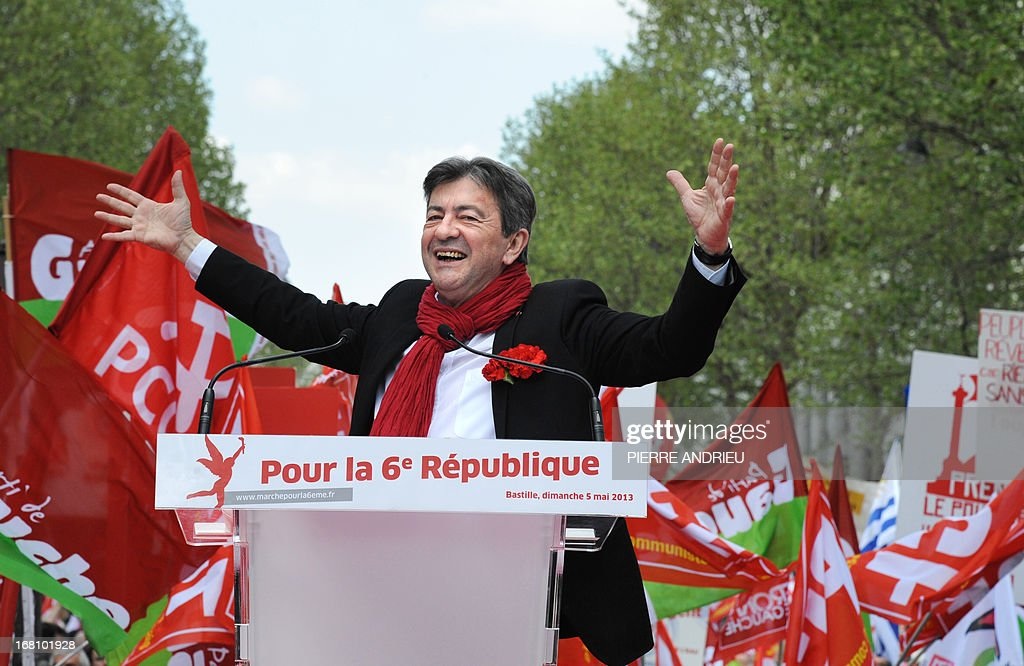 Jean-Luc Melenchon, leader of Front de Gauche (Left Front) left wing party, gestures as he gives a speech on May 5, 2013 in Paris, during a demonstration called by him to protest 'against the austerity, against the finance and to ask for a Sixth Republic'. When France's president Francois Hollande swept to power on May 2012 on a wave of discontent, he could hardly have imagined that a year later he would be the most unpopular president in modern French history.
