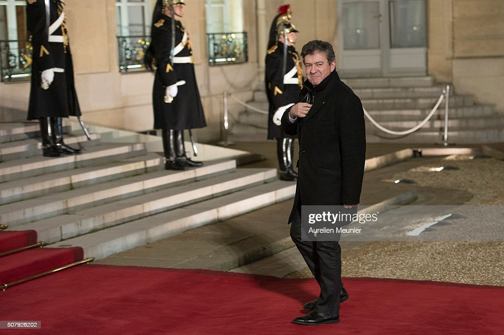 <a gi-track='captionPersonalityLinkClicked' href=/galleries/search?phrase=Jean-Luc+Melenchon&family=editorial&specificpeople=635097 ng-click='$event.stopPropagation()'>Jean-Luc Melenchon</a>, leader of the left wing political party arrives at Elysee Palace as French President Francois Hollande receives the Cuban President Raul Castro for a State Diner on February 1, 2016 in Paris, France. During the visit of Cuban President in France, around a dozen commercial, tourism and fair trade contracts were signed as France want to be the leader on the Cuban market.