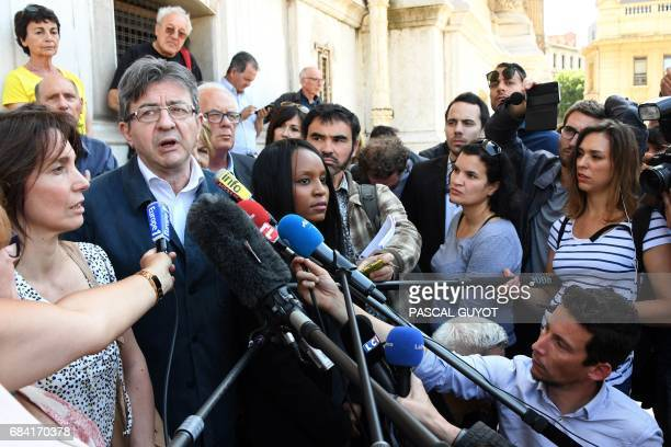 JeanLuc Melenchon of the farleft coalition La France insoumise delivers a press conference after submitting with others his candidacy for the French...