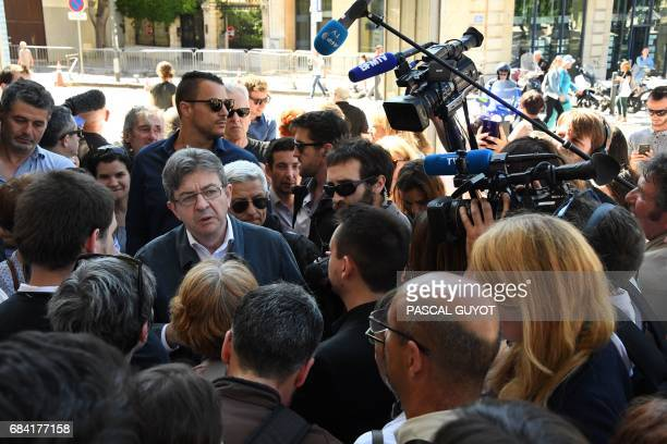 JeanLuc Melenchon of the farleft coalition La France insoumise delivers a press conference after submitting his candidacy for the French legislative...