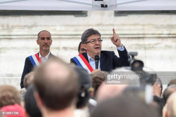 JeanLuc Melenchon speaks as supporters of political party LFI take to the streets of Paris France on July 12 2017 to protest the recently unveiled...