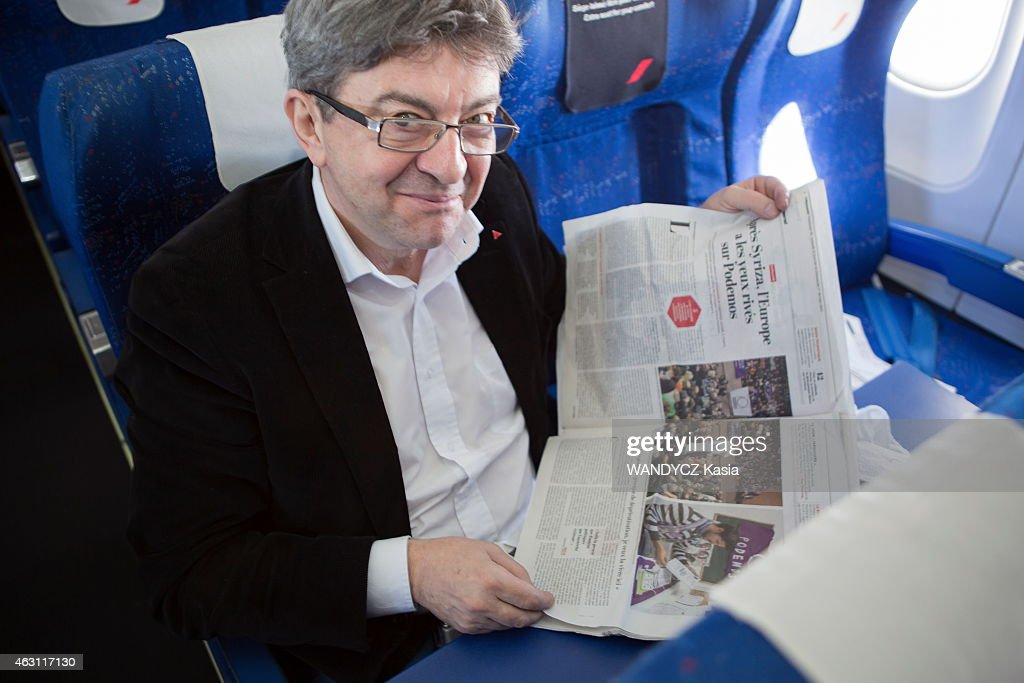 Jean-Luc Melenchon the french leader of the far left party during a travel to Madrid to support Podemos the spanish anticapitalist party on January 30, 2015.