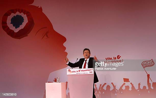 JeanLuc Melenchon the Presidential candidate for Front De Gauche speaks in front 100000 people during an election campaign meeting on the Prado Beach...