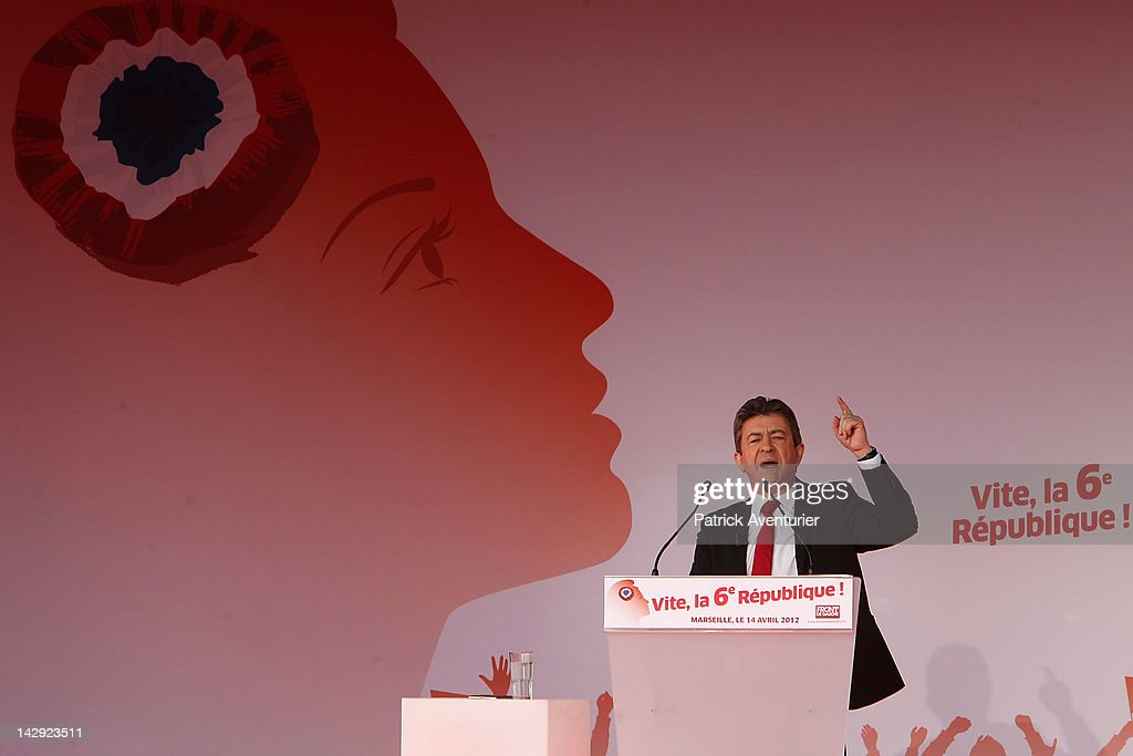 Jean-Luc Melenchon, the Presidential candidate for Front De Gauche, speaks in front 100,000 people during an election campaign meeting on the Prado Beach ,on April 14, 2012 in Marseille, France.Jean-Luc Melenchon is the third favorite in the French presidential election.