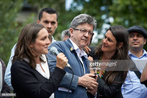 JeanLuc Mélenchon leader of the farleft movement 'France Insoumise' speaks with candidate Claire Dujardin He was in Toulouse to support candidates...