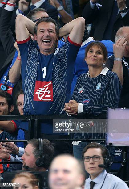JeanLuc Reichmann and his wife Nathalie Reichmann attend the 25th IHF Men's World Championship 2017 Semi Final handball match between France and...